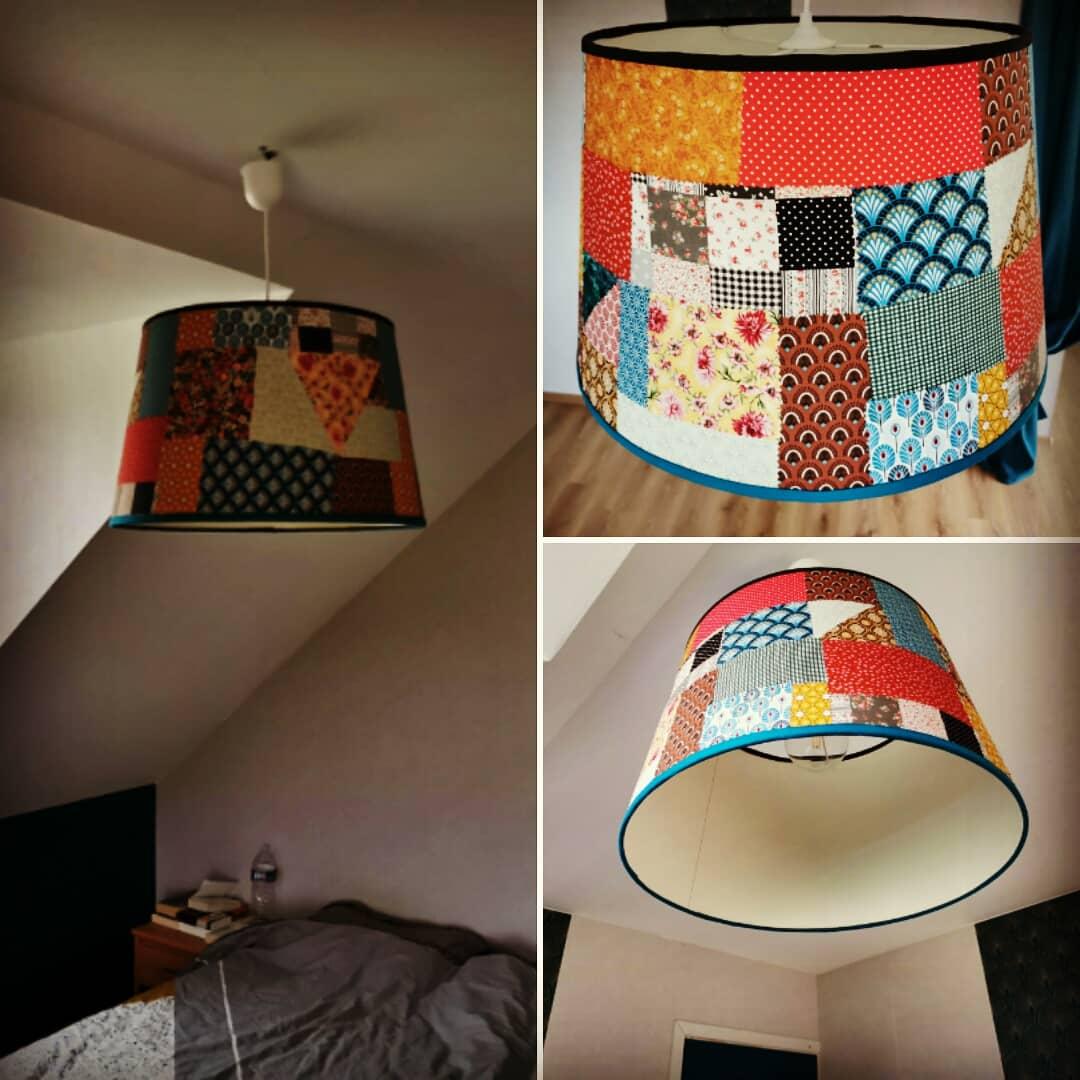 Création luminaire à suspendre décoration patchwork