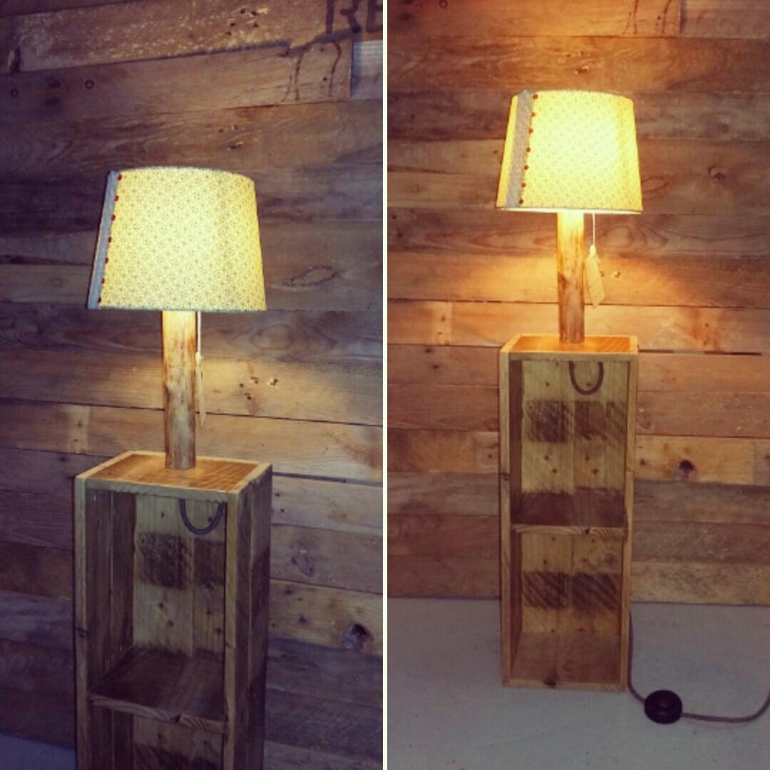 Création lampe étagère bois upcycling abat-jour imprimés vert dentelle perles