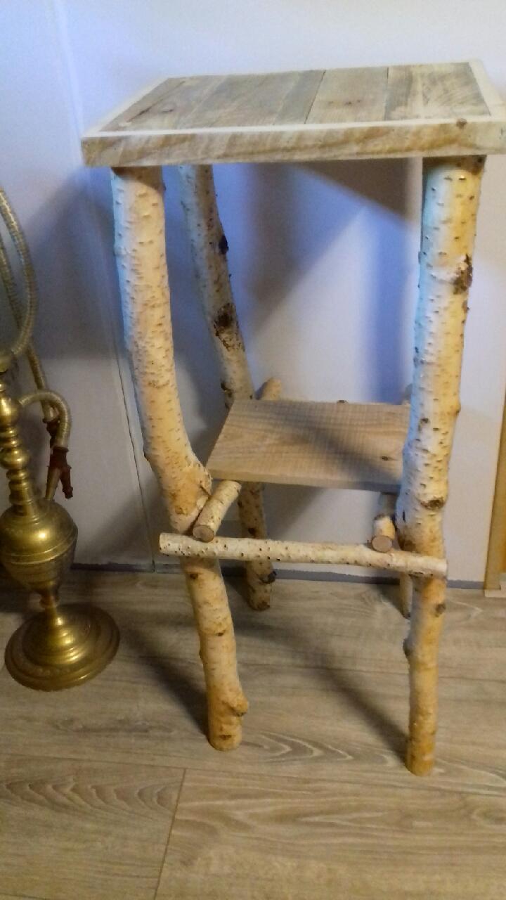 Création guéridon bois bouleau et palette